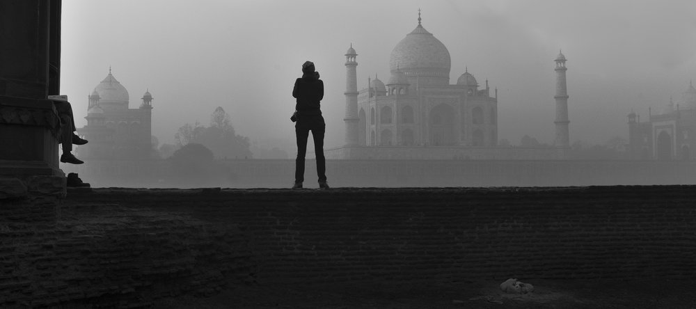 across the yamuna river from taj mahal, agra