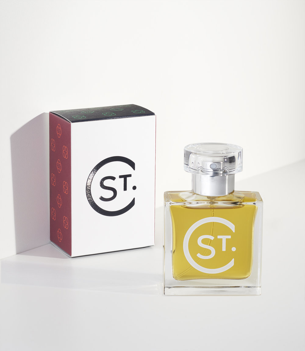St. Clair Scents perfume bottle and box