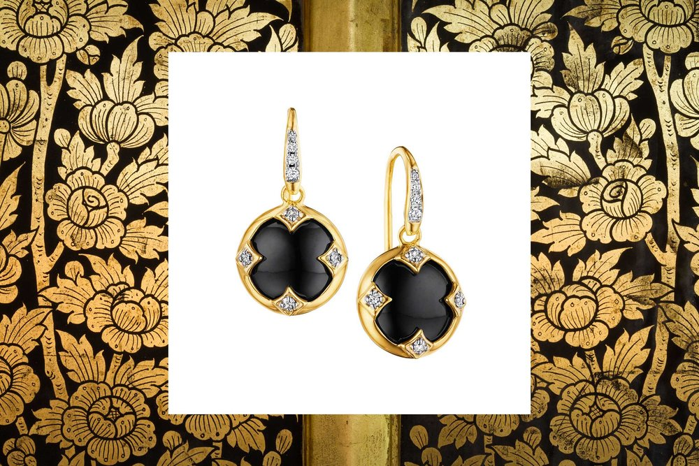 18kyg black onyx chakra earrings with champagne diamonds
