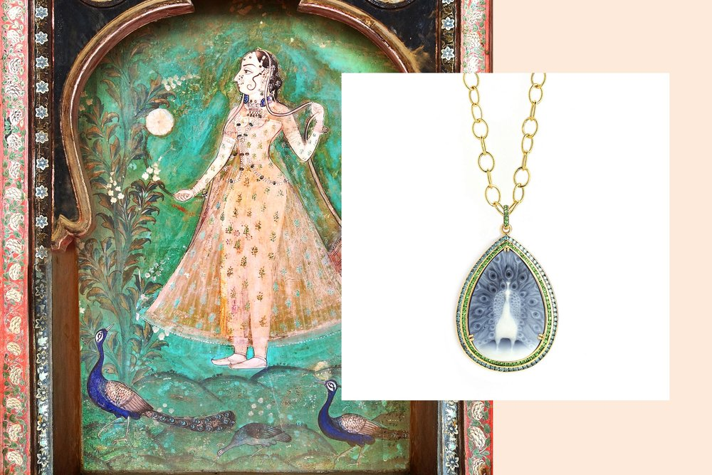 18kyg mogul peacock cameo necklace with tsavorites and blue diamonds