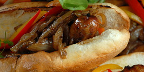 Delicious Sausage Sandwiches and Caramelized Onions
