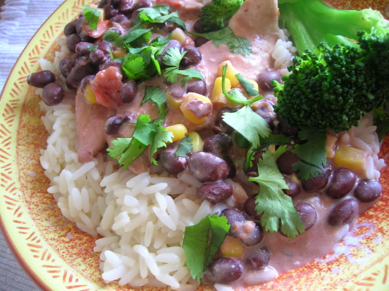 Crockpot Chicken with Black Beans in Cream Sauce