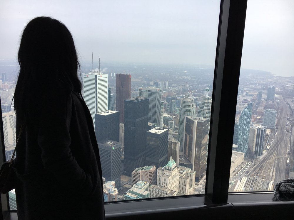 Looking all artsy and mysterious on top of the CN tower