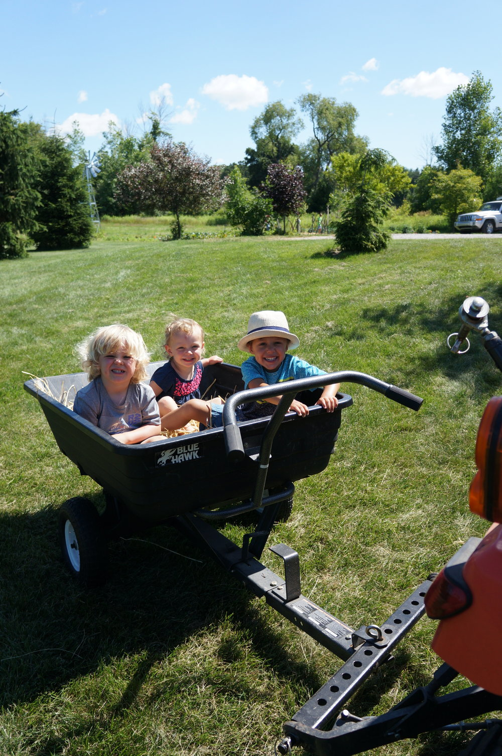 Tractor rides with Toby - Thomas, Rezzie, and Bennett