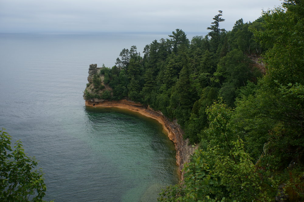 Pictured Rocks National Lakeshore on a dreary day. Caught a glimpse of the beautiful shore during a quick hiatus of rain.