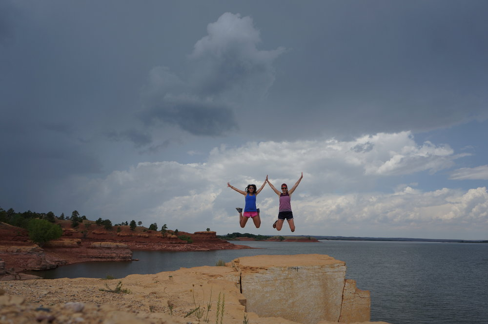 This is where we spent some time cliff jumping. Before the storm rolled in and we parted ways, Taylor and I had to get in a jump shot! Got it on the first try - we are getting good!