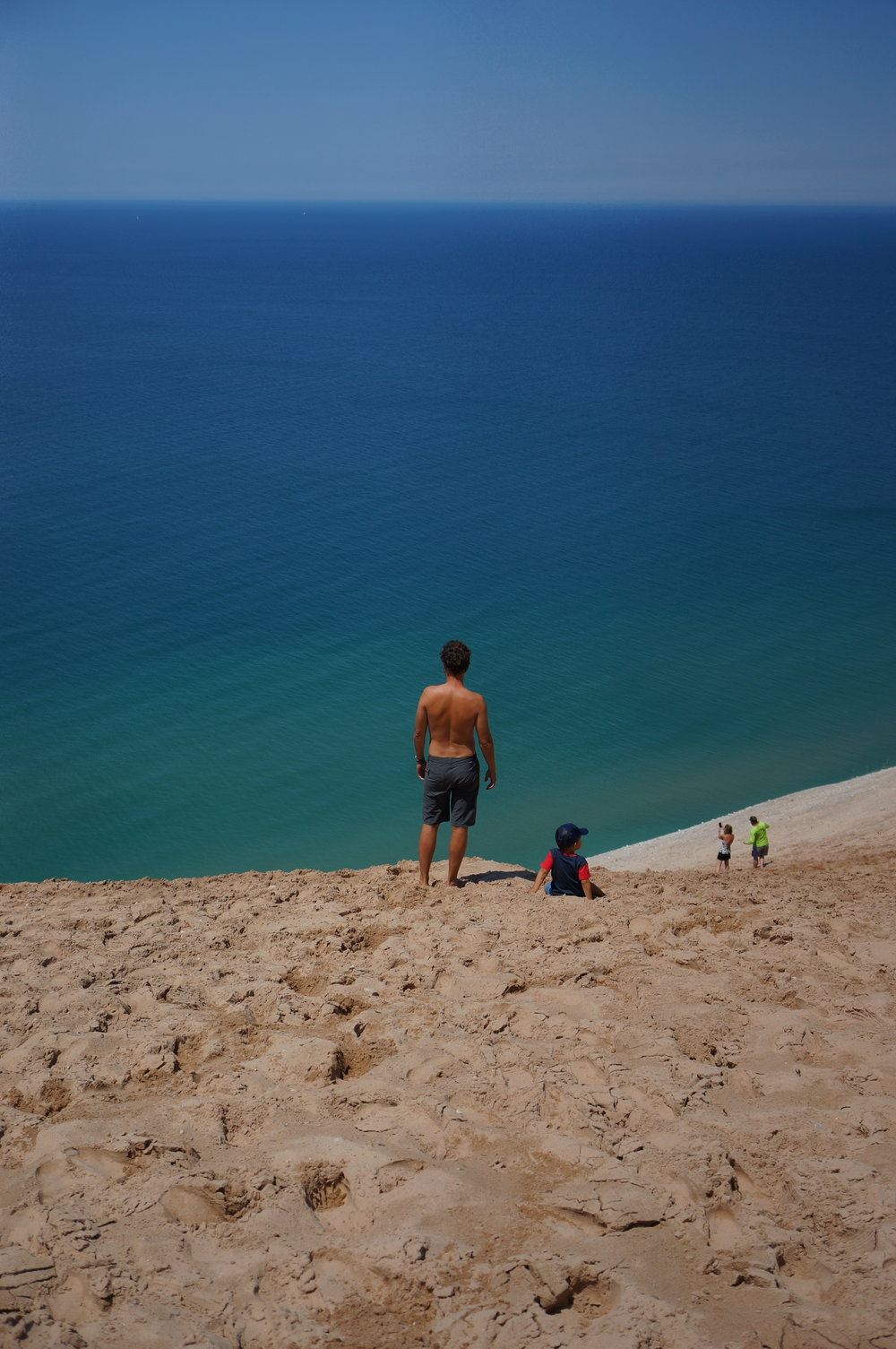 At the top of the Dune Climb - and no, I did not edit these photos. That water is actually that color.