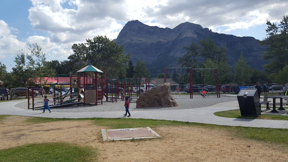 Waterton Village park - complete with free WiFi (!!), a splash pad, picnic tables, and as you see, a playground.