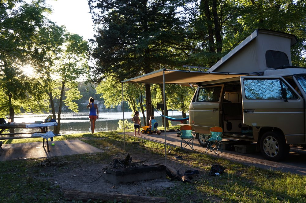 Our quiet campground in Lake of the Ozarks was one of our favorites and would have been a totally different experience if we came on the weekend.