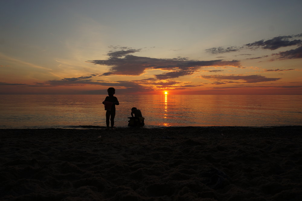 Sunsets on Lake Michigan are some of the most beautiful we have witnessed. This is Fisherman's Island State Park, Michigan.