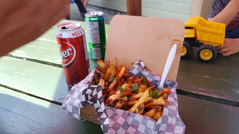 Poutine: an amazing combo of fries, cheese curds, and gravy!
