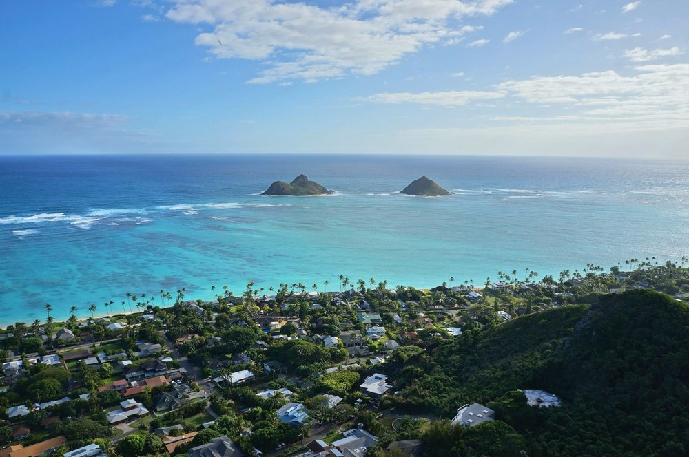 A view of the small community of Lanikai Beach below, as well as my favorite islands, the Mokes.