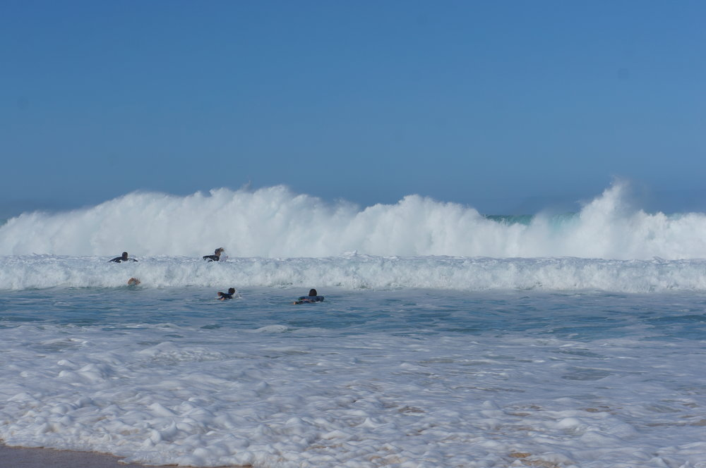 "I'm still not sure how these surfers make it past all this shore break. In the words of my eloquent husband ""F**k that""."