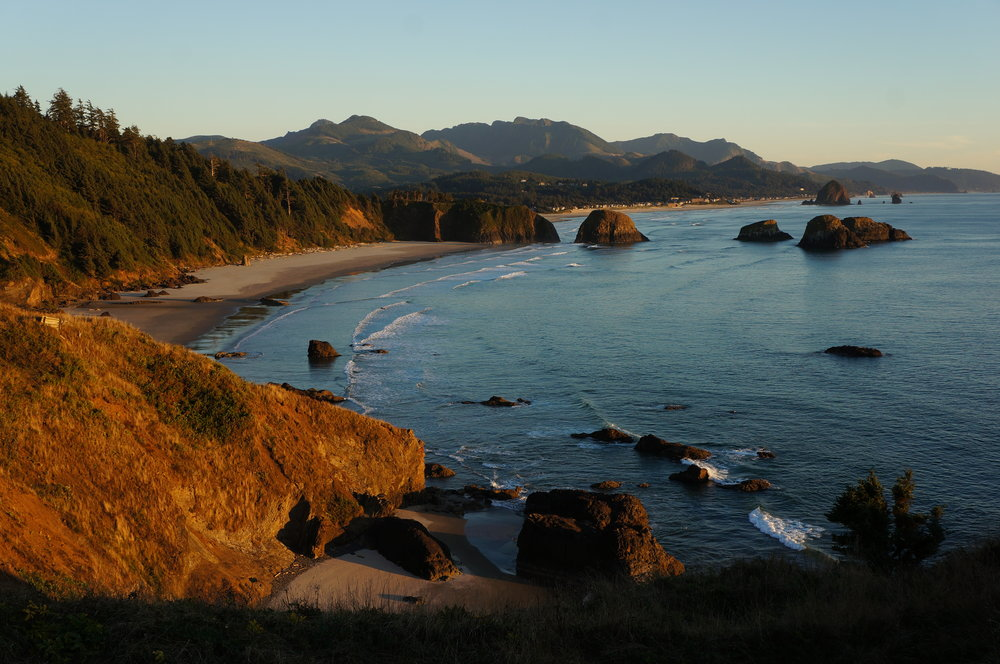 Ecola State Park at sunset.