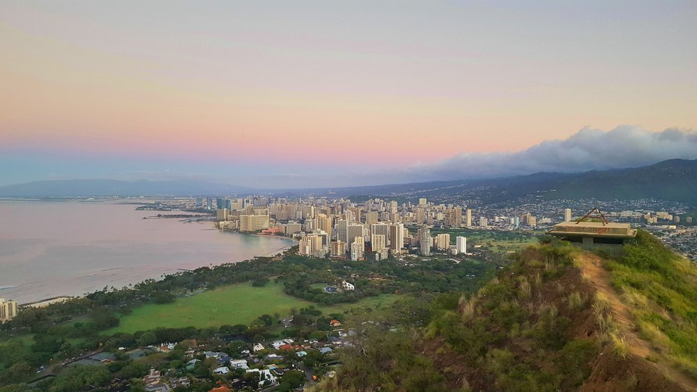 Overlooking Honolulu and Waikiki Beach.