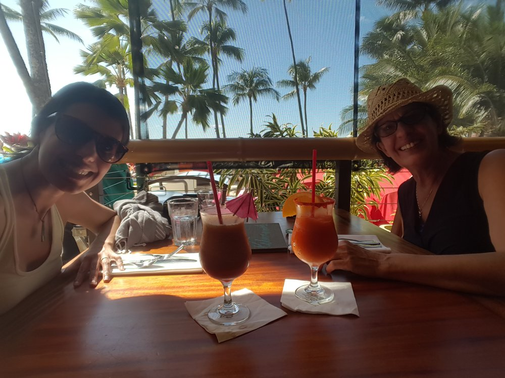Lun  ching and fruity drinks while my mom visited at Duke's Canoe Club.