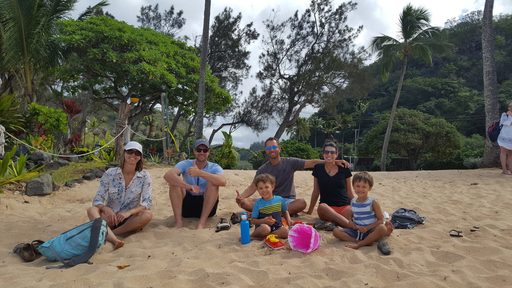A day on the North Shore (Waimea Beach here) with our friends from New Zealand, Rachel and Jeff. We hadn't seen them since 2013! And we picked up right where we left off.