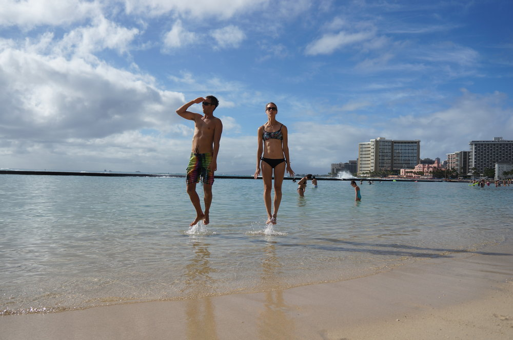 Rachel and Chip have mad skills. They can walk on water. But only on the special water of Waikiki. In a select location.