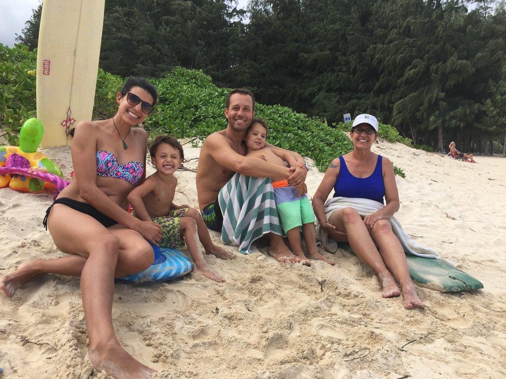 At Kailua Beach Park with Mimi/Teedo/Marti (she has many nicknames).