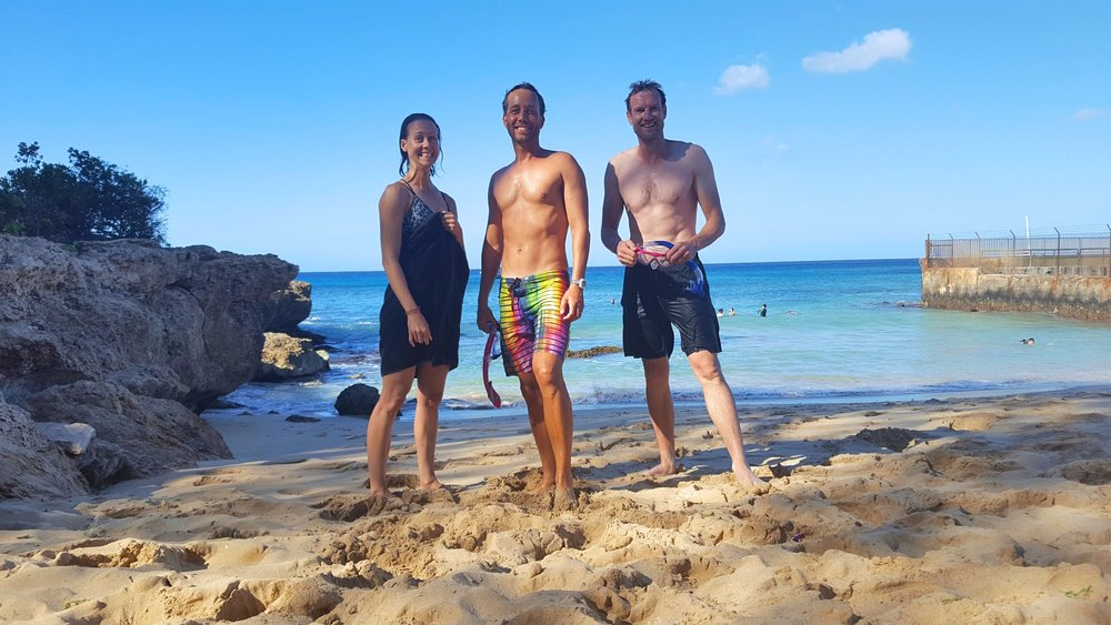 Snorkeling at Electric Beach on West Oahu with Jeff and Rachel from New Zealand.
