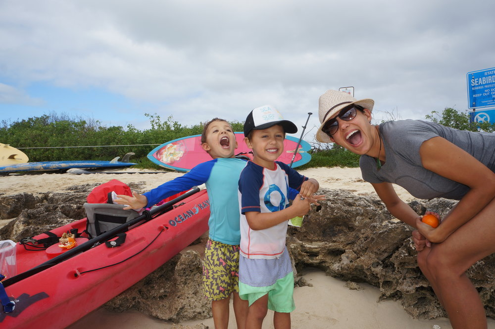 Our Christmas present to the boys - a kayak ride out to Flat Island! It was so much fun for us all!