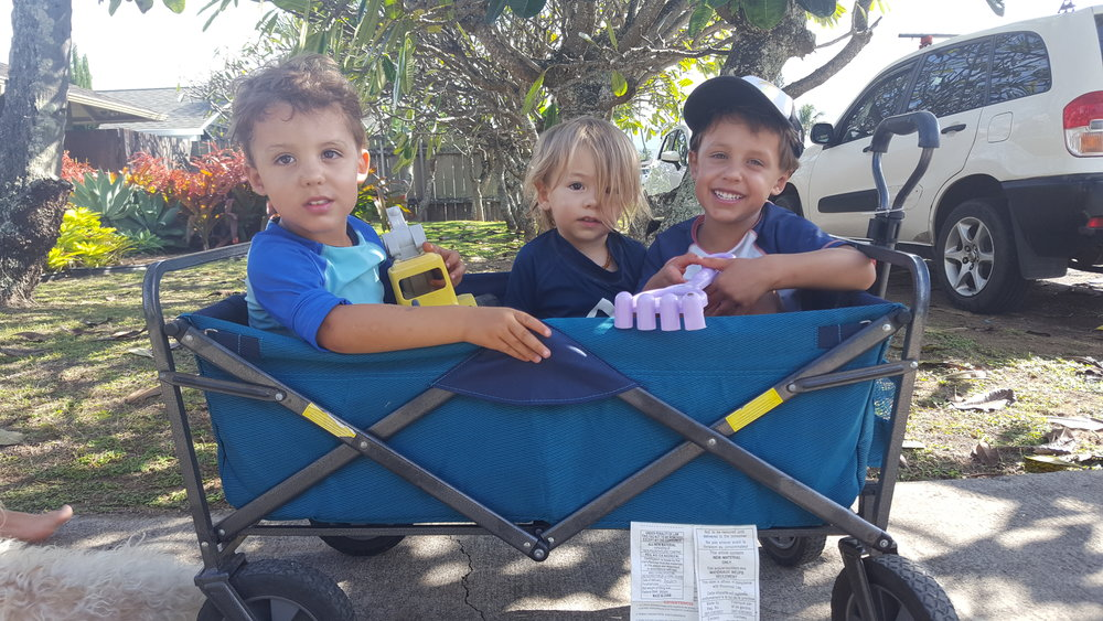 Heading out to the beach via wagon rides! Reid, Elijah, and Bennett.