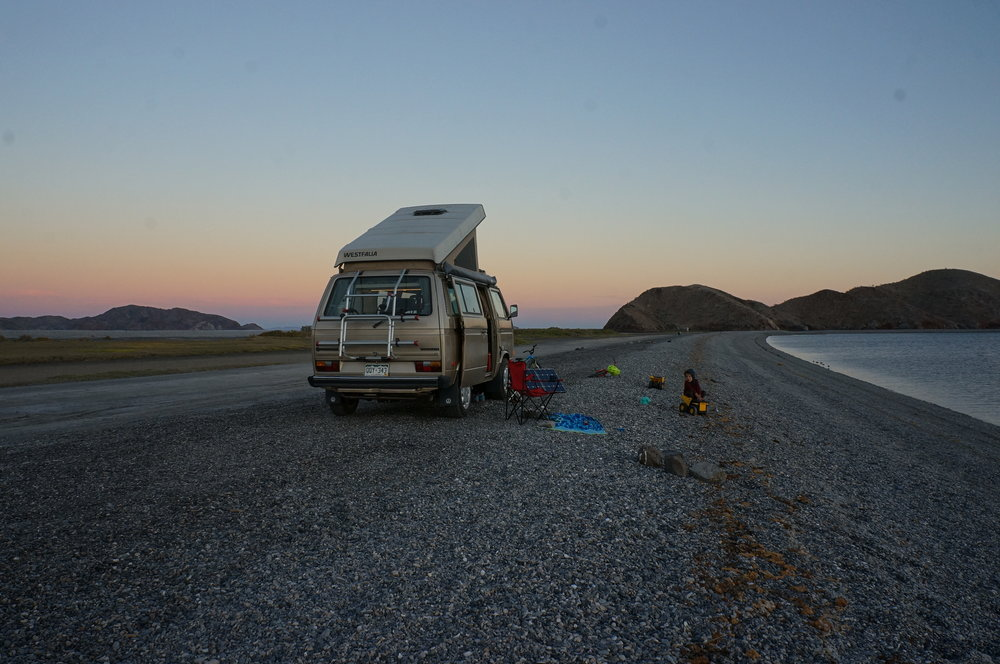 Our free and secluded campsite at Playa La Gringa, Bahia de Los Angeles.