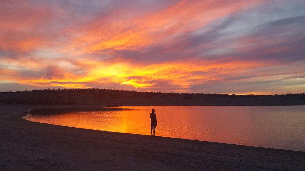 A sunset we most definitely won't forget at Elephant Butte Lake State Park, New Mexico.