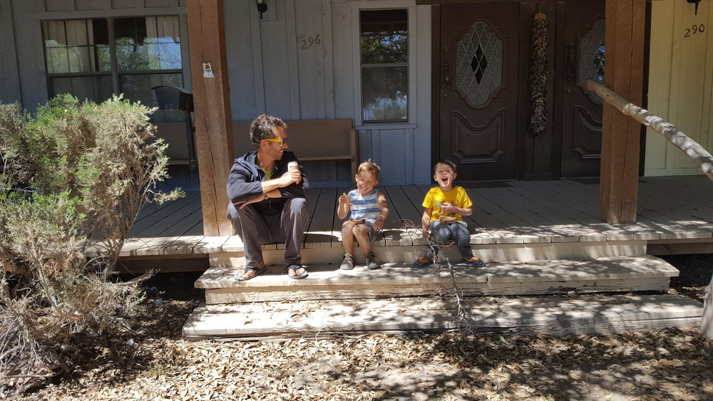 Lunch stop on a Sunday afternoon in a tiny town with nothing open. Chip just burped sending the boys into a laughter fit.