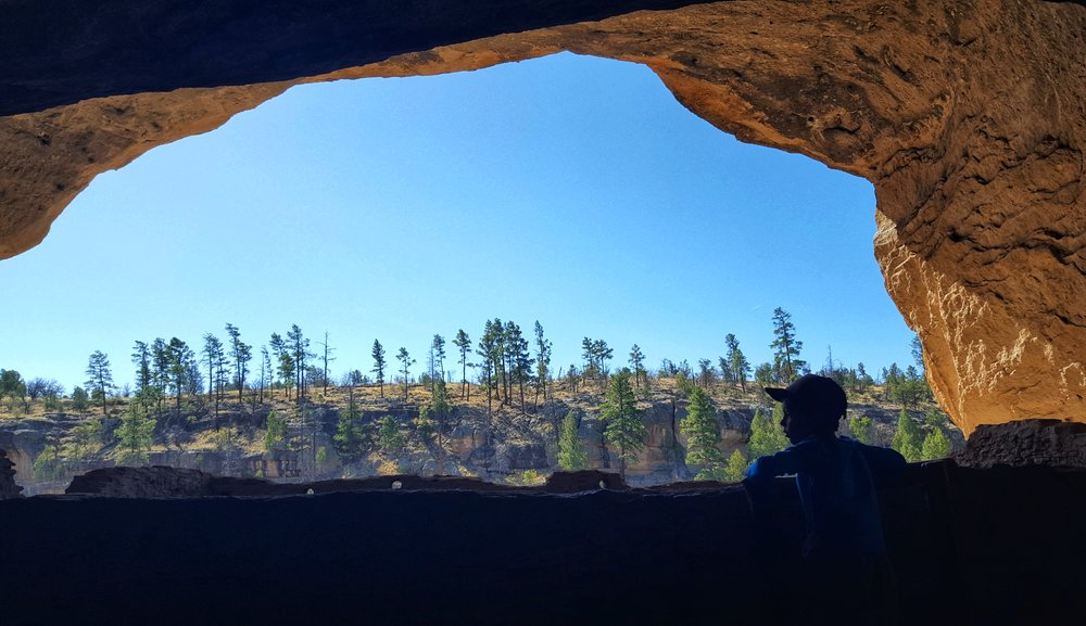 Bennett scoping out the panoramic views from Gila Cliff Dwellings National Monument.