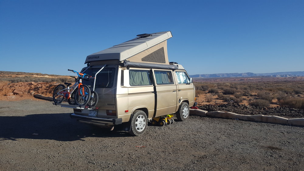 Free camping in the parking lot!