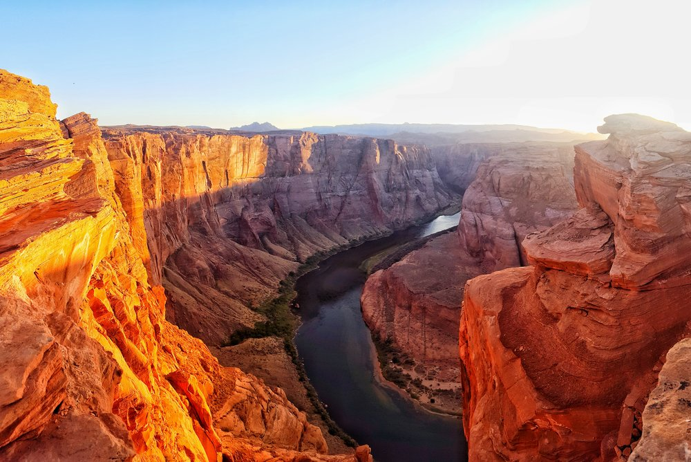 """One section of """"the horseshoe"""" during sunset. Even if you can see the whole 'U' it's still breathtaking!"""