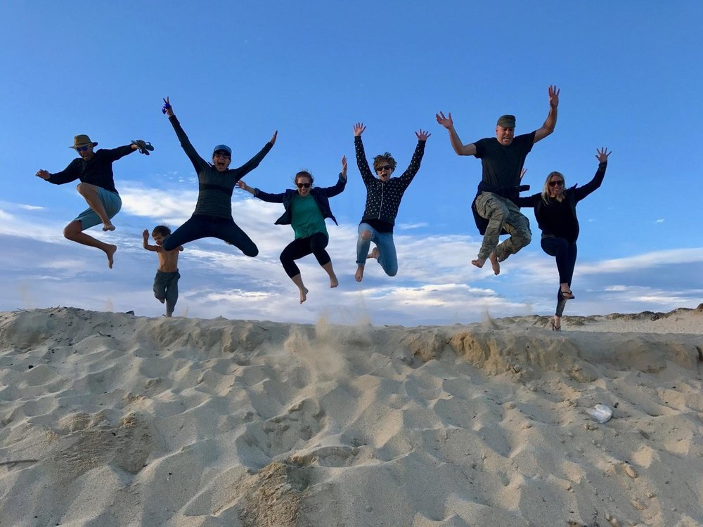 Jump shot after the sea turtle release with Chip's med school pals who came down to Baja to meet up with us, and also enjoy some vacation time!