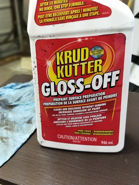 I started off with using this Rust-Oleum Krud Kutter on both the tables. It took off the grime and gloss that was on them which let me skip the sanding part. So worth it! You just put this on and wipe it down in circles followed by a wipe with a clean cloth. It is amazing how much stuff it takes off for you!