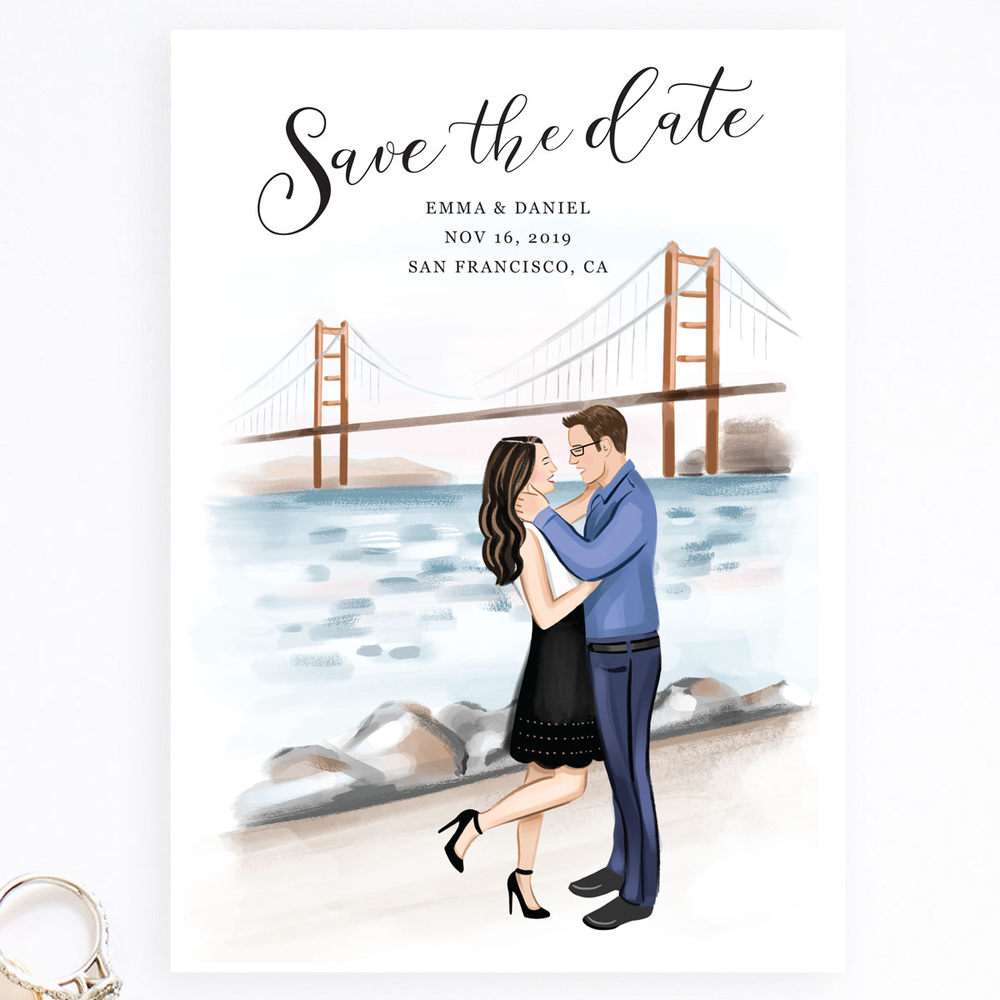 Save the Date Couple Illustration Card