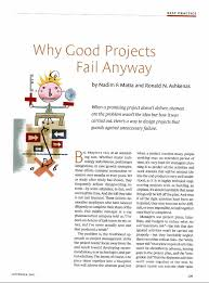 Why Good Projects Fail Anyway - by Nadim Matta and Ron AshkenasHarvard Business Review On Point ArticleSeptember 2003