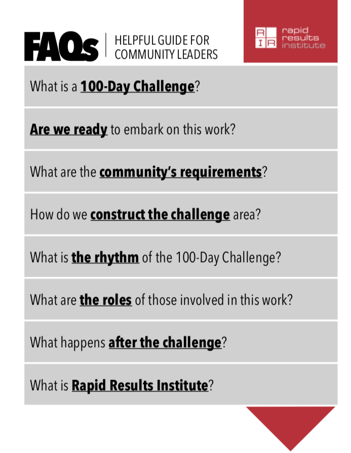 Frequently Asked Questions for Community Leaders on 100-Day Challenges