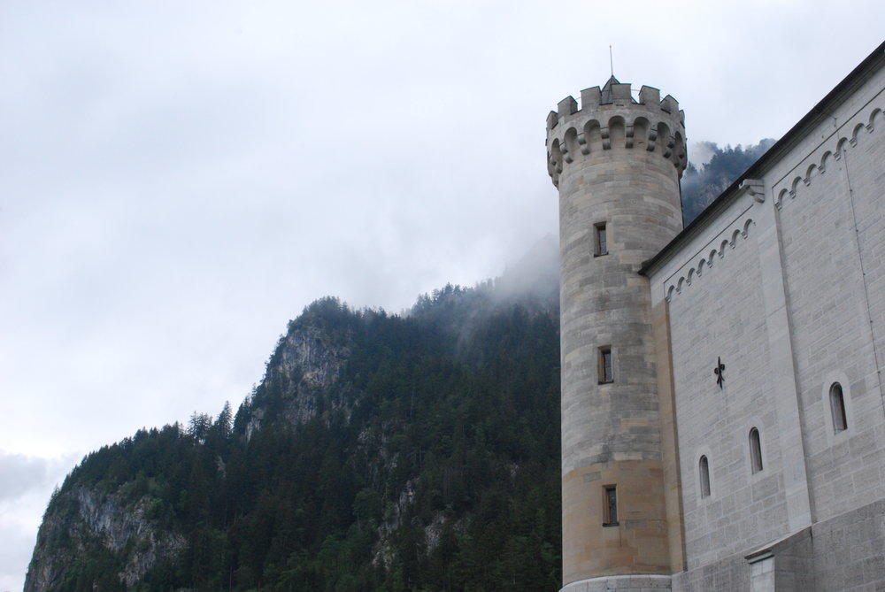 A different view of the Neuschwanstein Castle, and the lush forest beyond.  Photo by Roxanne Barton, 2011.