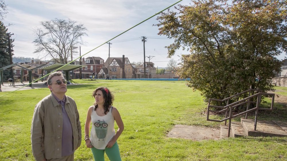 Raymund Ryan with Marialuisa Borja, of Quito-based practice Al Borde, at Recycle Park in North Braddock, Pennsylvania, 2016. Courtesy of the Carnegie Museum of Art. See the finalized proposal for the park renovation  here .