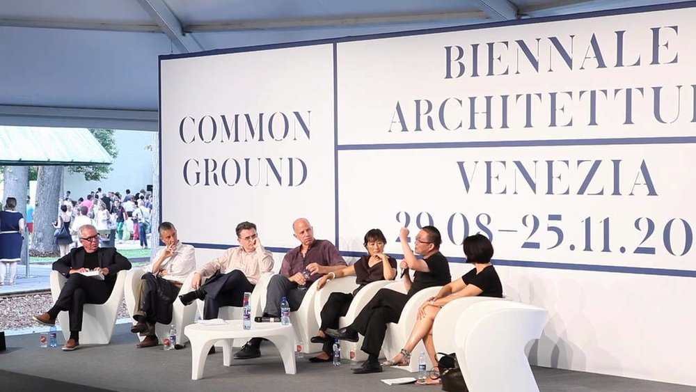 """Dialogue on Details"" panel discussion, August 28, 2012, Venice Biennale of Architecture. Left to Right: David Chipperfield, Vittorio Lampugnani, Raymund Ryan, Tod Williams, Billie Tsien, Wang Shu, and Toshiko Mori. Courtesy of the Venice Biennale."