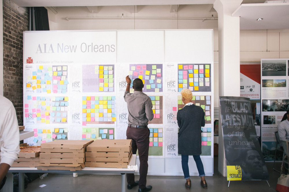 Documentation of Design as Protest, an event by Blights Out, National Organization of Minority Architects (NOMA), and NextCity held on the occasion of RISE, the 43rd annual NOMA International Conference and Exposition, October 2015. Photo by Patrick Melon.    Courtesy of Blights Out.