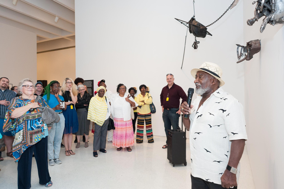 Thaddeus Mosley presenting at the  20/20  exhibition Gallery Conversations event in partnership with By Any Means .  August 3, 2017. Courtesy of the Carnegie Museum of Art.