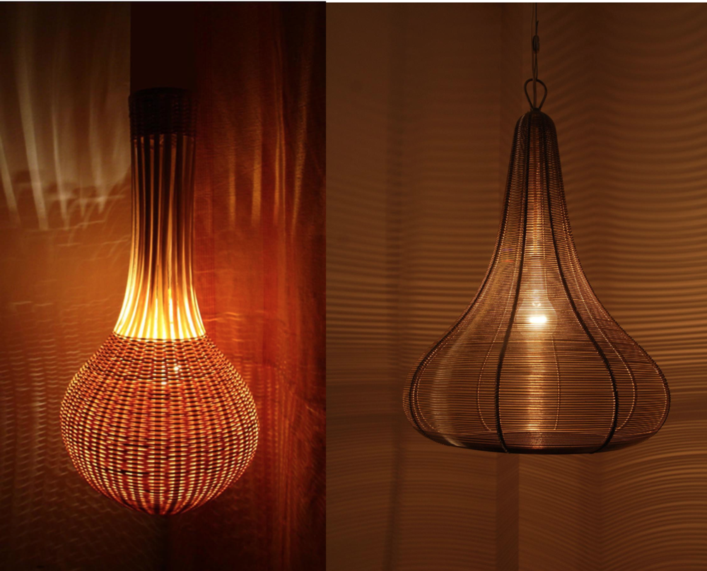 Bamboo and metal wire lamps by Siddhartha Das. Courtesy of Siddhartha Das.