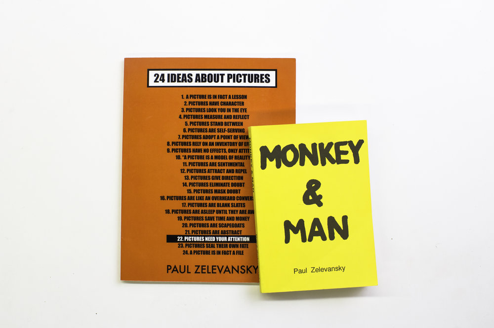 Monkey and Man  and  24 Ideas About Pictures —two of Zelevansky's books to be published together in a new edition. Courtesy of Ilana Curtis.