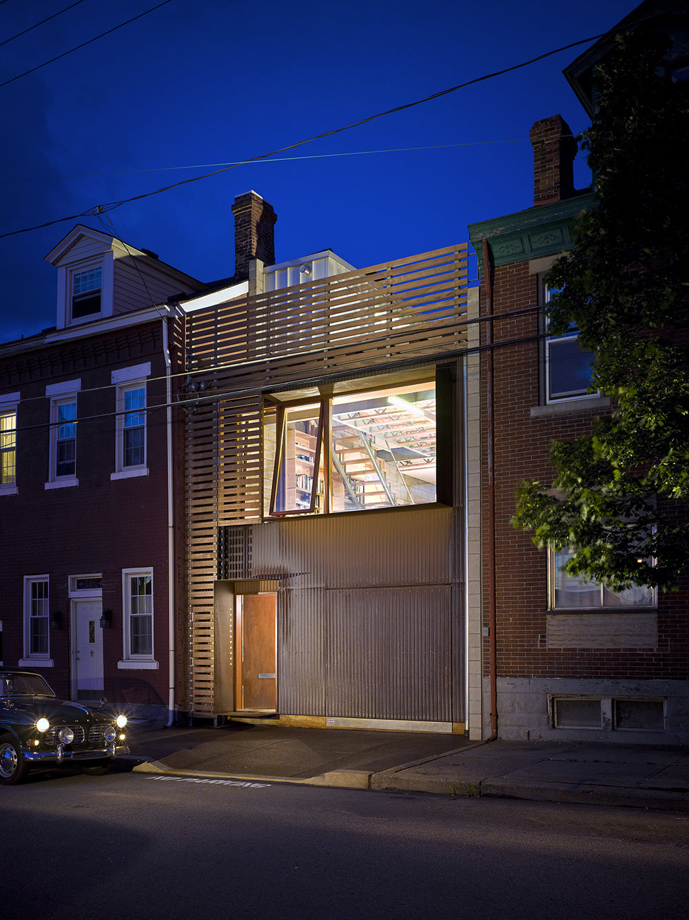 Live/Work Studio II shows a reinterpretation of a typical house in Pittsburgh's South Side neighborhood. Photo by Ed Massery.