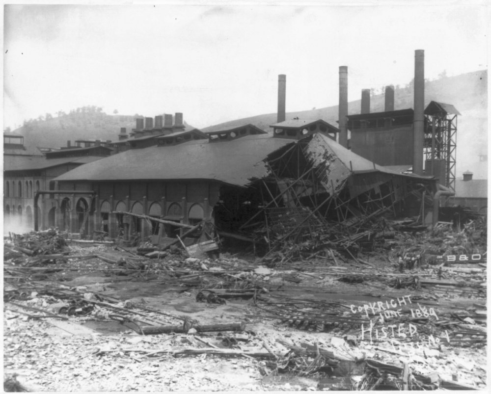 Ruins of Cambria Iron Mills from Sone Bridge P.R.R., Johnstown Flood, May 31st 1889. Photo by Histed, Earnest Walter. Courtesy of the Library of Congress.