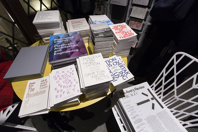 New releases from GSAPP Books on display in Avery Hall, October 23, 2015. Courtesy Columbia GSAPP.