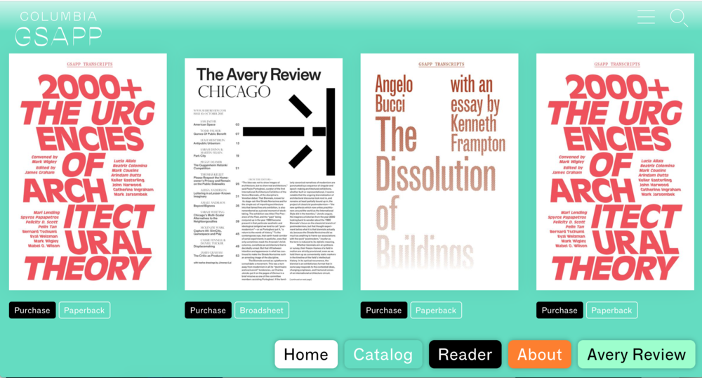Columbia Books on Architecture website featuring two publications edited by Graham. From left:  2000+: The Urgencies of Architectural Theory  and  The Avery Review: Chicago.