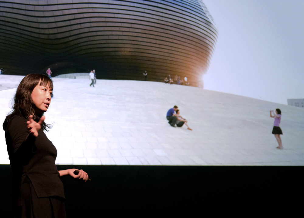 "Dang Qun presenting her lecture "" Future City: Human and Nature "" at the Carnegie Mellon School of Architecture Fall 2018 Lecture Series. Photo: Michael Powell."