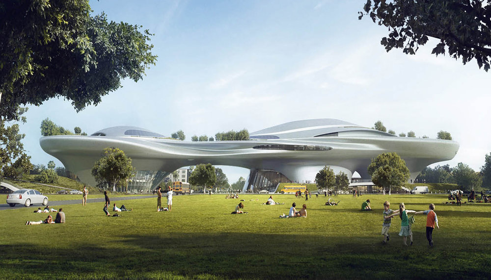 Rendering of the Lucas Museum of Narrative Art project in Los Angeles. Courtesy of MAD Architects.
